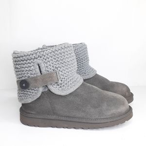 UGG Darrah Gray Suede & Sweater Boots Size 5 NICE